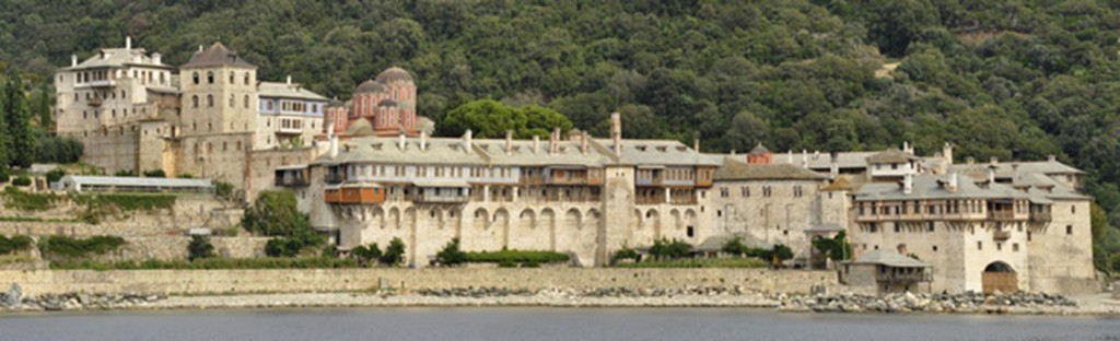 View from sea of Xenofontos monastery at mount Athos greece